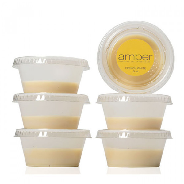 AMBER FRENCH WHITE WAX 1/2 OZ CUPS- 6PK